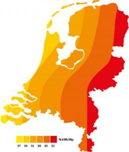 Opbrengst zonnepanelen berekenen - Omrekenfactor kWh/Wp Nederland